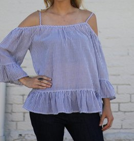 Denim and White Striped Cold Shoulder Bell Top