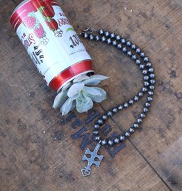 Sphere Navajo Pearl with Dragonfly Naja Necklace 20 in