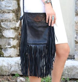 Leather Pouch Bag With Fringe