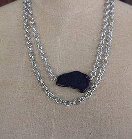 2 Silver Chain Necklace with Black Chunk Stone