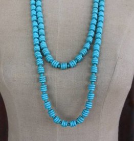 2 Strand Turq Disk Bead Necklace