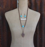 3 Layer Burnished Copper Arrowhead with Turquoise & Ivory Accents Necklace Set