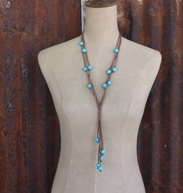 Punchy's 3 Strand Brown Leather Tied Necklace with Turq Bead Accents