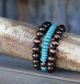 3 Strand Burnished Copper and Turquoise Disk Bead Bracelet