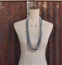 3 Strand Metallic Bead Necklace