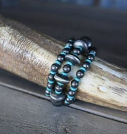 Punchy's 3 Strand Silver and TQ Bead Stretch Bracelet