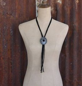 Adjustable Worn Silver Concho Bolo Tie Necklace with Black Leather