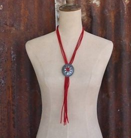 Adjustable Worn Silver Concho Bolo Tie Necklace with Red Leather