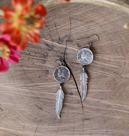 Coin Feather Earring