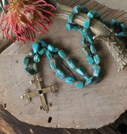 Turquoise Necklace With Yellow Bronze Cross