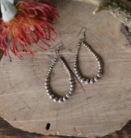 Silver Beaded teadrop Earring