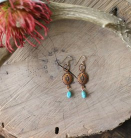 Small Concho & Turquoise Earrings