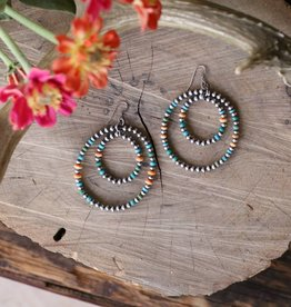 Spiny Oyster and Turquoise Double Hoop Navajo Pearl Earring