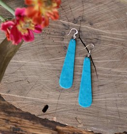 2 1/2'' Teardrop Compressed Turquoise Earring