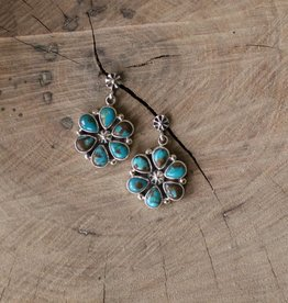 Royston Blue Turquoise Flower Earring