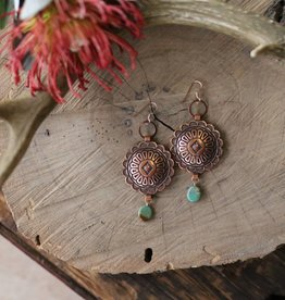 Large Concho & Turquoise Earrings