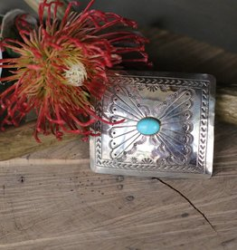 Small Sterling Silver Belt Buckle with Turquoise