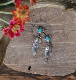 Fox Turquoise and Feather Earring