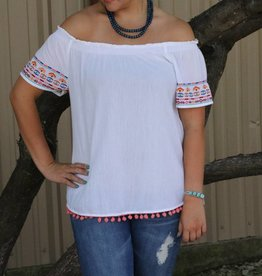 White Off the Shoulder Top with Embroidered Sleeve