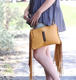 Medium Mustard Clutch with Fringe and Chocolate Strap