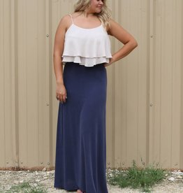 Freeway Colorblock Ruffle Maxi Dress