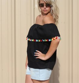 Black Off The Shoulder Top Fiesta Tassels