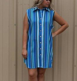 Ortiz Fashions Inc. Blue Serape Button Down Dress