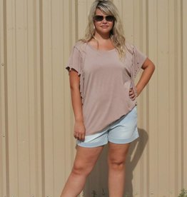 Crew Neck Tee with Fringe Sleeve Detail