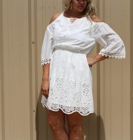 Crochet Mini Dress with Cold Shoulders