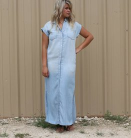 Cuffed Sleeve Denim Button Up Dress