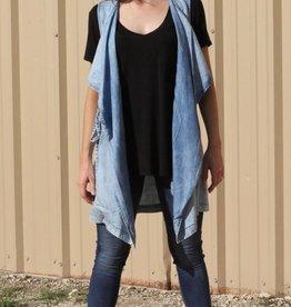 Denim Vest with Waist Tie