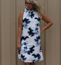 Floral Printed Dress with Ruffle Neckline