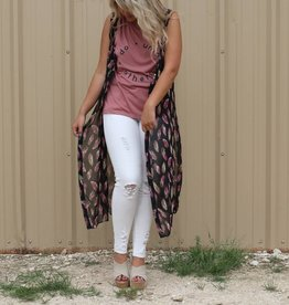 Long Sleeveless Cardigan with Purple and Grey Feather Detail