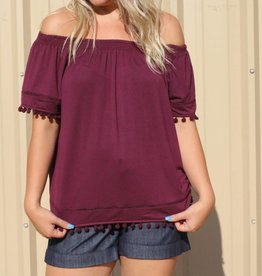 Pom Pom Hem Off The Shoulder Top