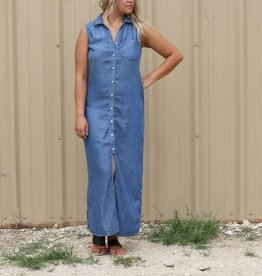 Sleeveless Denim Button Up Dress