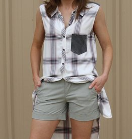Sleeveless Lavender Plaid Button Down