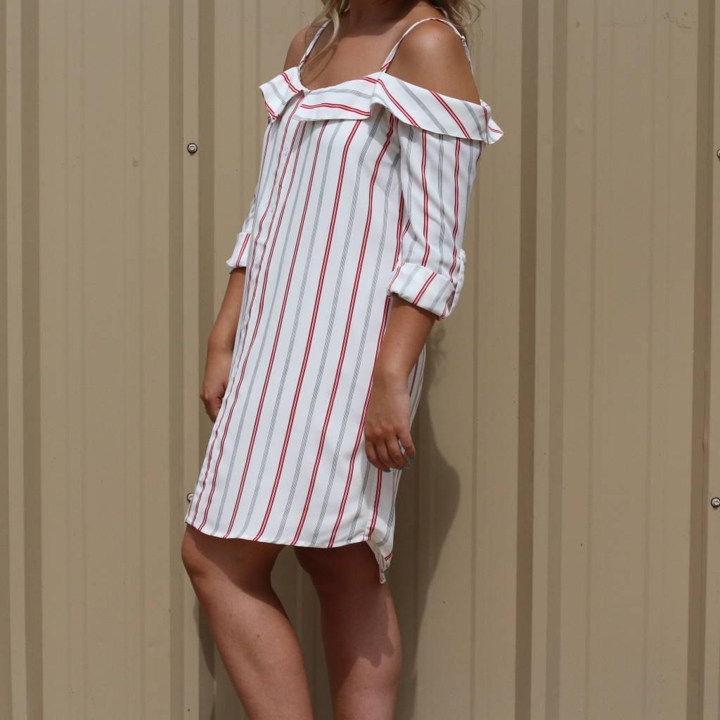 Striped Off-The-Shoulder Spaghetti Strap Dress