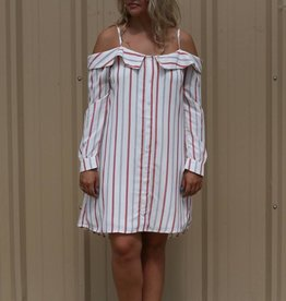 Striped Off-The-Shoulder Spaghetti Strap Dress