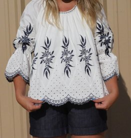 White Navy Embroidered Top Eyelet Detail