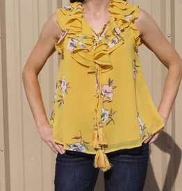 Yellow Sleeveless Floral Top