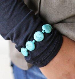 Round Disk Bead Stretch Bracelet