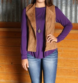 Diagonal Zipper Suede Vest