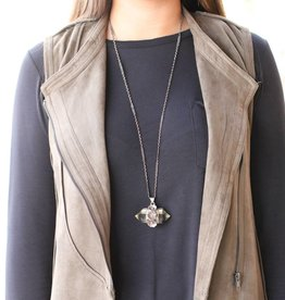 Crystal Quartz Sterling Silver Floral Detail Necklace
