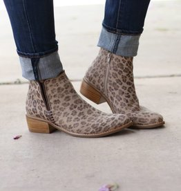 Leather Leopard Print Booties