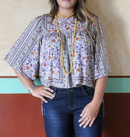 Floral Butterfly Peasant Top