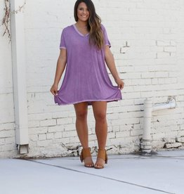 Distressed Purple V-Neck Pocket Dress