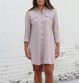 Blush Long Sleeve Button Up Dress