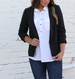 Black Blazer with Cinched Sleeve