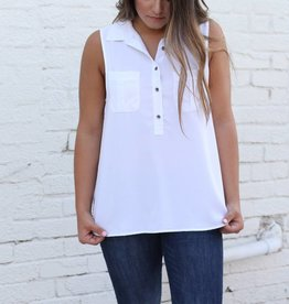 Dear John White Sleeveless Tank