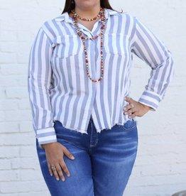 Denim Blue & White Striped Button Down